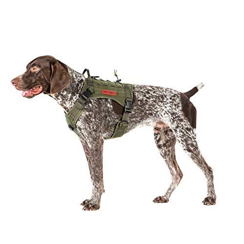 OneTigris Taktische Hundeweste Service Hundegeschirr MOLLE Hundeausbildung Geschirr 1000D Nylon (M, Ranger Grün)