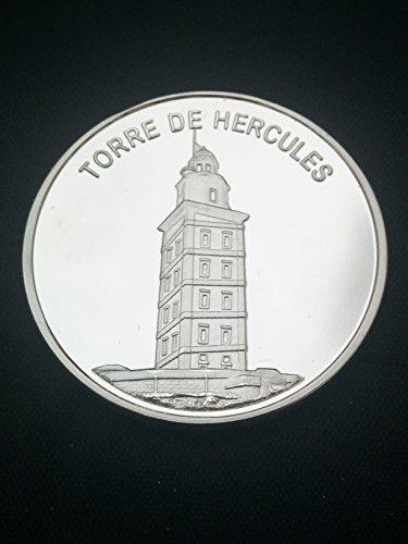 Moneda bañada en plata Torre de Hercules (A Coruña)