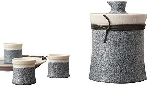 LYYF Conjunto de Sake Retro Oriental de 6 Piezas, Copas de Vino con Maceta más cálida y platillo de Taza, Conjunto de Sake de Sake de Textura Mate, para fríos/cálidos/Calientes/Shochu/té 2123
