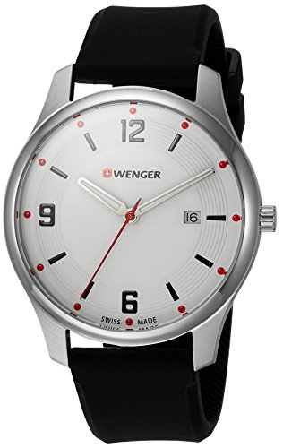 Wenger City Active Stainless Steel Swiss-Quartz Watch with Silicone Strap, Black, 21 (Model:...
