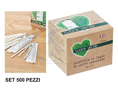 Leone SRL Kehrschaufel aus Holz, gepolstert, 9 x 0,6 x 0,13 cm, Set 500 Stück Kaffee