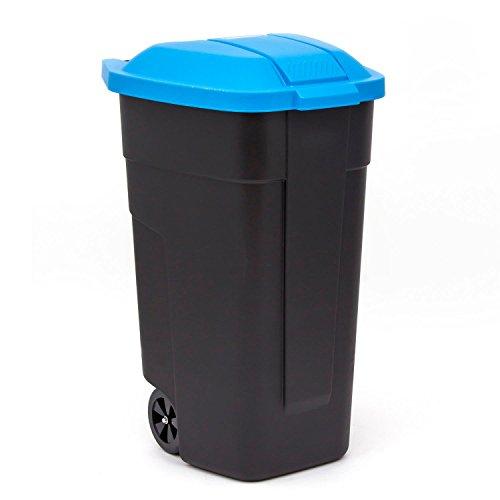 curver vuilnisbak met wielen vuilnisemmer afvalemmer vuilnisemmer 110 L zwart/blauw