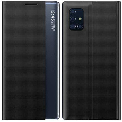 Mking Tech Funda de Cuero con Tapa para teléfono Inteligente para Samsung Galaxy A51 5G/4G. 10 / Mix 3/8/11/12 / Redmi Note 8 T / K30 / 7A / X Flip/Suspend/Wake Up/Smart Funda de Cuero-Negro