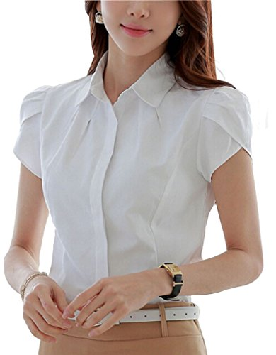 Double Plus Open Women Cotton Collared Pleated Button Down Shirt Short Sleeve Blouse White Solid 4 Tag M