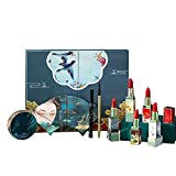 HGFHG Kit De Cosméticos De Maquillaje De Estilo Chino De 9 Piezas Set De Pintalabios Mate De 5 Colores Accesorio De Maquillaje Hidratante De Larga Duración con Diseño De Relieves Tallados