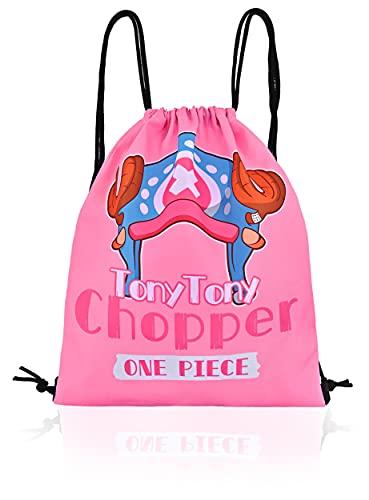 Roffatide Anime One Piece Tony Tony Chopper Lienzo Impreso Mochila con cordón Niños Niñas Deportes Escuela Bolsa de yoga Cinch Bag Pink