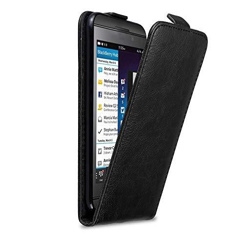 Cadorabo Hülle für BlackBerry Z10 in Nacht SCHWARZ - Handyhülle im Flip Design mit Magnetverschluss - Hülle Cover Schutzhülle Etui Tasche Book Klapp Style
