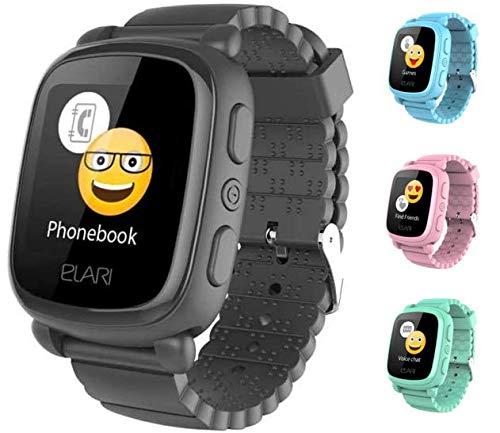 Elari 2G Reloj Inteligente Niño y Niña GPS Localizador y Llamadas Bidireccionales Audio, Chat de Voz, Botón SOS, Pantalla Táctil Grande y Brillante, Juegos KidPhone 2 (Negro)