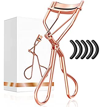 Eyelash Curlers with Refill Pads for Women - Larbois Lash Curler with 5 Refill Pads Easy to Curl Eyelashes Naturally in Seconds without Pinching and Pulling Get Perfect Curl (Rose Gold)