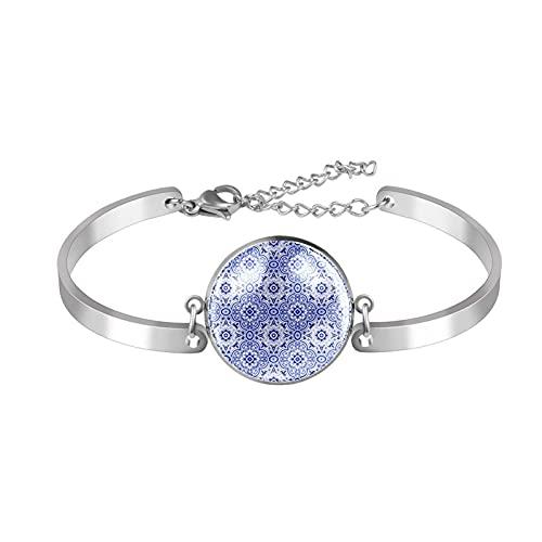 Pulsera Pulsera de eslabones ajustable Azul Azulejo geométrico patrón de flores