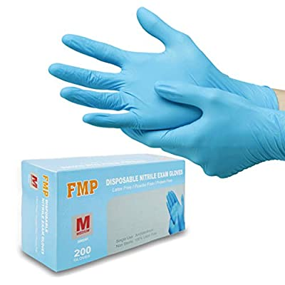 [200 Pack] Medium Blue Nitrile Medical Gloves - Non Latex Rubber, Protein and Powder Free, Exam/Food Grade Safe Supplies, Disposable Hand Glove Dispenser Pack