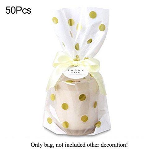 Woopower Bolsa para galletas de caramelos, 50 unidades, diseño de lunares y rayas de oro de lujo, bolsas de embalaje de regalo para festivales Tamaño libre dot