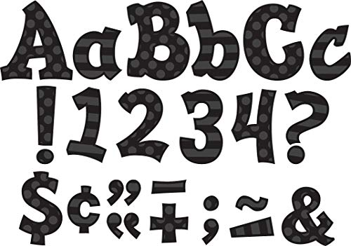 Teacher Created Resources 75262 Black Sassy Solids 5-Inch Sassy Font Letters