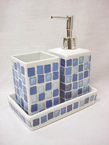 Juego 3 Piezas BAÑO Accesorios SOBREMESA Lavabo Porcelana DOSIFICADOR 280ML Vaso BAÑO Bandeja Mosaico Azul