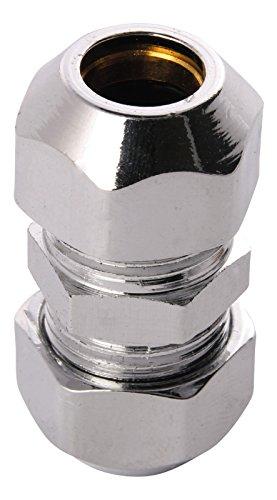 Doppel-Quetschverschraubung | Kupplung mit 2 Quetschen | 8 mm | Quetschverschraubung | Für Kupfer-Rohre | Anschluss von Armaturen | Verchromt
