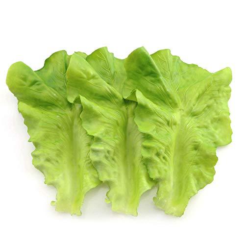 Tegg Fake Lettuce Leaf 3PCS Artificial Vegetable Leaf Plastic Faux Lettuce Leaves