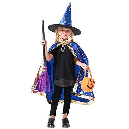 Sombrero de Brujo de Halloween,Infantil Capa de Halloween con Sombrero de Mago para Niños Niña Disfraz de Cosplay Fiesta Estilo de Estrella Azul