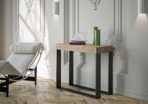 itamoby Elettra - Consola extensible de madera y hierro, 77 x 40 x 90/300 cm, roble clásico