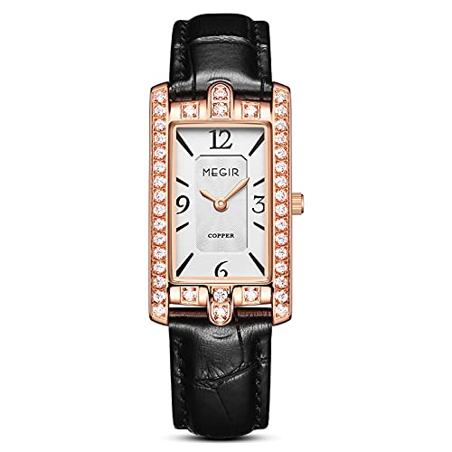 CYONGYOU Retro Fashion Ladies Watch Diamond-Set Square Watch Imported Movement Copper Case Female Watch A Hundred Black Belts