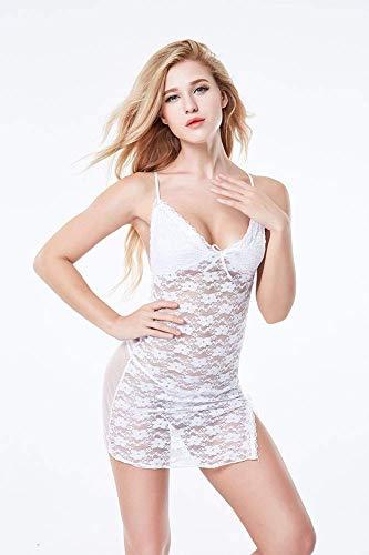 ZHANGSL Damen Sexy Spitzen-Dessous Sexy Versuchung Perspective Pyjama Club Nightclub Fun Kostüme, weiß, Weiß
