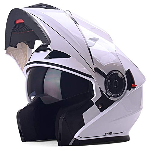 SJAPEX Cascos Modulares, Profesional Flip-Up Integrales Cascos Ligero Desmontable Full-Face Helmet con...