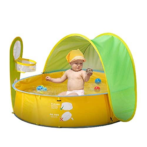 Syina Tienda de playa portátil para bebés con sombrilla resistente al agua, protección UV, tienda de campaña para juegos al aire libre, tienda de campaña automática instantánea para niños de verano