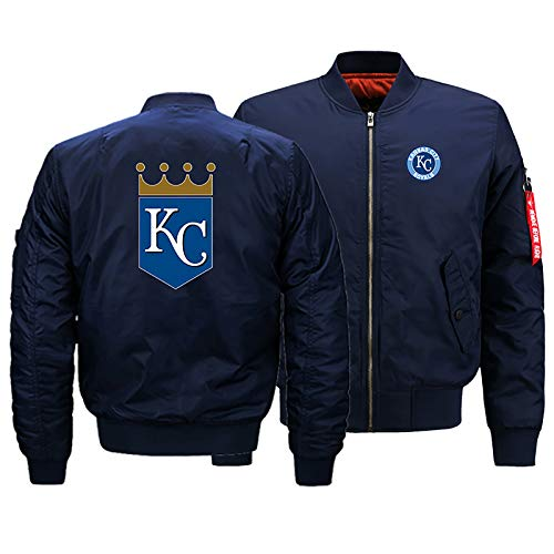 GMRZ MLB Herren Jacke, Mit Kansas City Royals Logo Major League Baseball Team Sweatshirts Fans Jerseys Sweatjacke Mit Warm Winter Outdoor Ski-Jacket,A,S