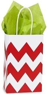 Red & White Chevron Small Shopper Gift Bags - Quantity of 25