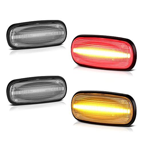[4-Pieces] For 2003-2009 Dodge RAM 2500 3500 Dually Pickup Red + Amber LED Strip Rear Fender Light Side Marker Lamp Replacement, Driver & Passenger Side