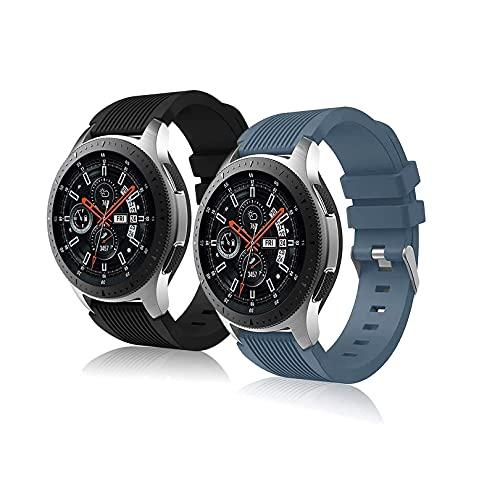 Correa Pulsera Compatible con Huawei Watch gt2 Pro Samsung Galaxy Watch 46 mm Galaxy Watch 3 / Gear S3 45 mm 22 mm Pulsera de Reloj Inteligente para Hombres y Mujeres-Pizarra+Negra