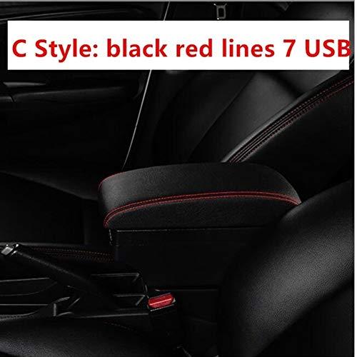 XIANGSHAN Para Renault Logan Apoyabrazos Caja del Coche Universal reposabrazos Central Caja de Almacenamiento Modificación Accesorios (Color Name : C Black Red Line)