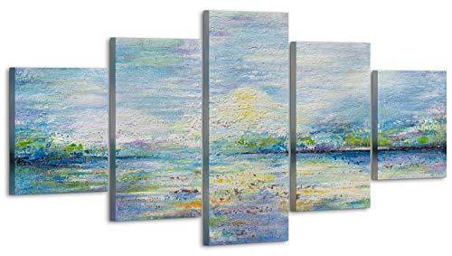 YS-Art Premium | Set | Cuadro Pintado a Mano | Cuadro Moderno acrilico| 160x80 cm | Lienzo Pintado a Mano | Cuadros Dormitories | único | Multicolor | 5 Partes | M010