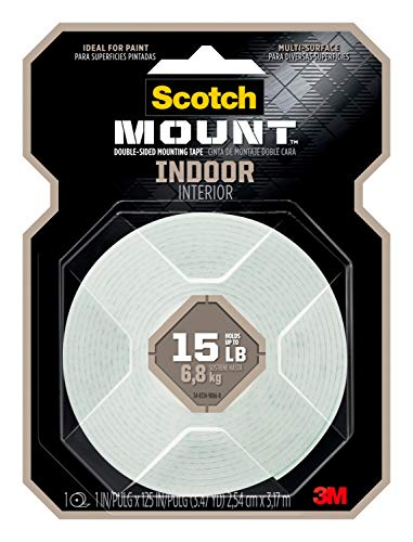 Scotch Indoor Mounting Tape, 1-inch X 125-inches, White, 1-Roll (314H-MED)