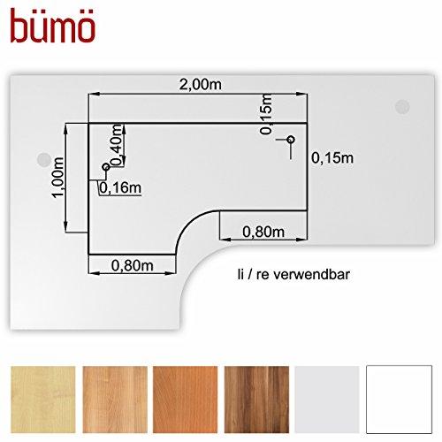 Bümö® stabile Tischplatte 2,5 cm stark - DIY Schreibtischplatte aus Holz | Bürotischplatte belastbar mit 120 kg | Spanholzplatte in vielen Formen & Dekoren| Platte für Büro, Tisch & mehr (Eckform: 200 x 120 cm, Weiß)
