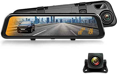 """REXING M2 Smart BSD ADAS Dual Mirror Dash CAM 12"""" IPS Touch Screen, 1080p (Front+Rear),GPS,Stream Media, Parking Monitor, Night Vision,Blind SPOT Detection, Backup Camera for CAR, Pick UP Truck, Taxi"""