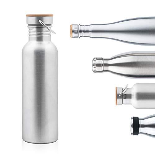 Pure Design Borraccia Acciaio Inox Ciclismo 750 ml (500ml, 350 ml) Senza BPA & Plastico & Loghi. Bottiglia d'Acqua Sportiva per Bici 1000 ml con Coperchio in Legno di bambù 110% Garanzia a Vita