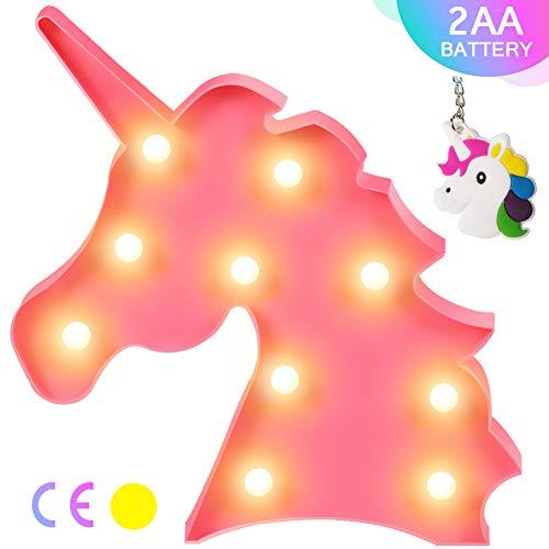 Lámpara de mesa con forma de unicornio 3D Aizesi, estilo marquesina, funciona con pilas, para decorar el hogar