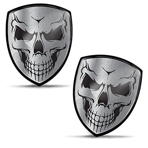 Biomar Labs 2 x 3D Gel Pegatinas Siliconas Skull Cráneo Calavera Stickers Emblema Adhesivo Plateado Auto Coche Motocicletas Ciclomotores Bicicleta Ordenador Portátil KS 134