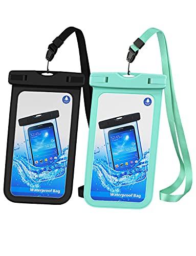 Wowteech Custodia impermeabile smartphone -2 Pezzi IPX8 Dry Bag Telefono Sacchetto Impermeabile, Smartphone Waterproof per iPhone 12 11 XR XS X, Galaxy S10 S9 S8 7 6.7 Fino a 6.7 Pollici, nero