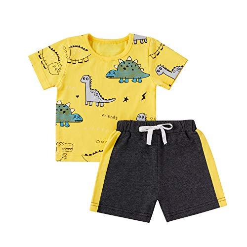 Juego de 2 Piezas de Ropa Deportiva para Niño Bebé Conjunto Camiseta de Manga Corta con Estampado de Dinosaurio + Pantalones Cortos Deportivos (Amarillo, 3-4 Años)