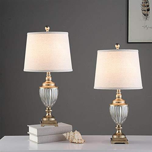 Juego de 2 lámparas de mesa de resina con pantalla blanca, 63,5 cm de latón antiguo, lámparas de mesa tradicionales, lámparas de...