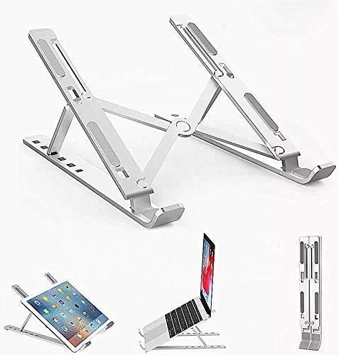 SAETTA Soporte de Aluminio para Laptop de 6 Posiciones Enfriadora Antideslizable, Base Ajustable para iPad, Tablets, Macbook Pro, Netbook, Computadoras Portátiles Desarmable y...