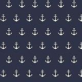 Baumwollstoff Anker Navy Blau Webware Meterware Popeline