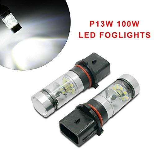 Riloer Bombillas de Luz LED para Coche, 2 Piezas P13W 100W Bombillas de Luces Antiniebla/Luces de Haz Bajo/Luces de Circulación Diurna para Vehículo Automático, Luz Blanca