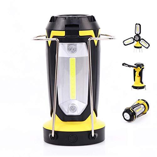 EA-Miao Multi-usages Camping Lumière COB Lantern Tent Lumière Portable USB Rechargeable Lampe De Poche Lampe De Table Trois en Un Extérieur,Yellow