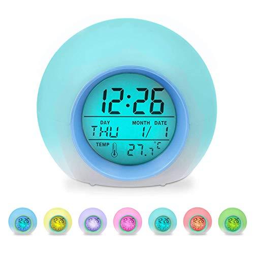 Sveglia digitale per bambini, con luce a LED colorata, 7 colori cambiano la sveglia, sveglia luminosa e lampada da comodino, per ragazzi e ragazze, temperatura, data, regalo di compleanno per bambini