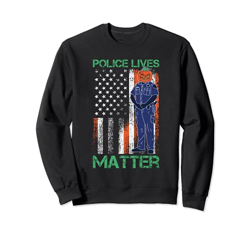 Police Lives Mater Lazy Halloween Disfraz de bandera americana Sudadera