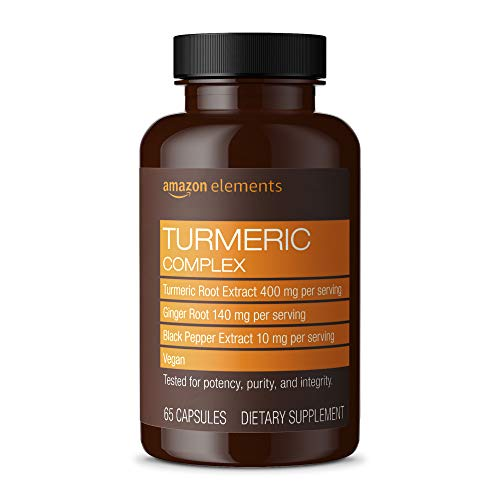 Amazon Elements Turmeric Complex, 400mg Curcumin, 140mg Ginger, 10mg...