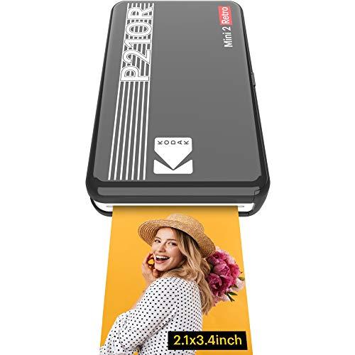 Kodak Mini 2 Retro mobiler Fotodrucker, Kompatibel mit Smartphone (iOS & Android, Bluetooth), 54x86 mm, 4Pass-Technologie-Laminierung, 8 Blatt - Schwarz
