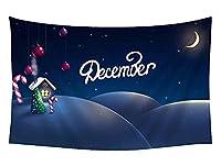 壁のタペストリー 風景タペストリー - クリスマス新年夜ムーンハウスアート画像 - 装飾壁掛けタペストリー 間仕切り おしゃれ インテリア 寝室 カーテン 部屋飾り 新築お祝い 結婚お祝い プレゼント 横200cm×縦150cm